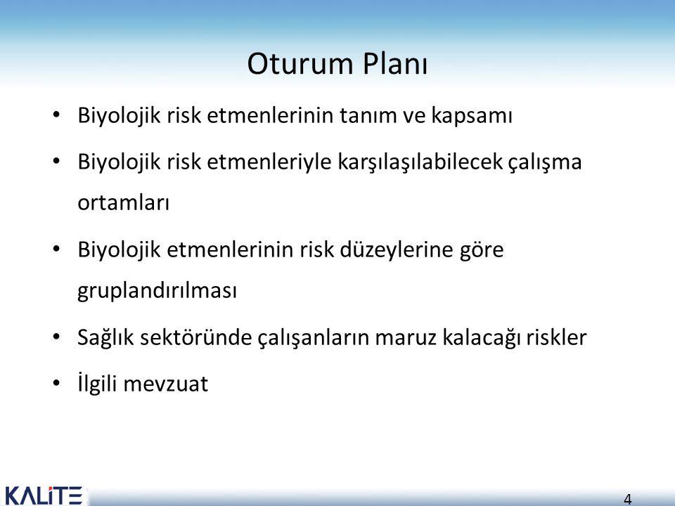 Oturum Planı Biyolojik risk etmenlerinin tanım ve kapsamı