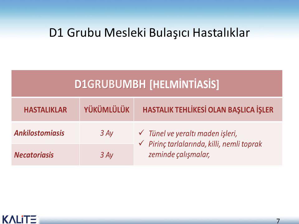 D1 Grubu Mesleki Bulaşıcı Hastalıklar