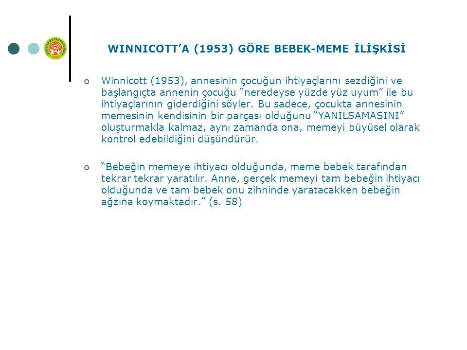 WINNICOTT'A (1953) GÖRE BEBEK-MEME İLİŞKİSİ