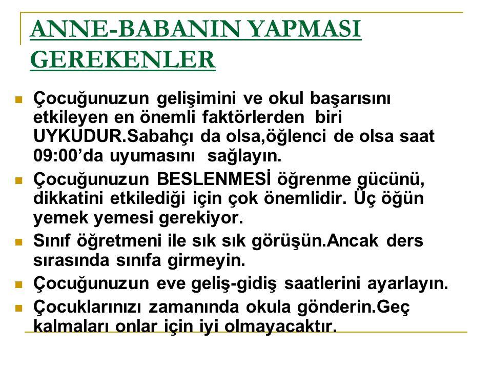 ANNE-BABANIN YAPMASI GEREKENLER