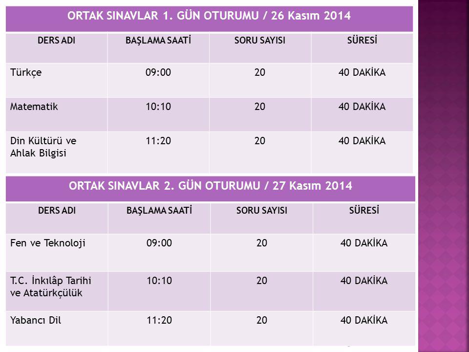 ORTAK SINAVLAR 1. GÜN OTURUMU / 26 Kasım 2014