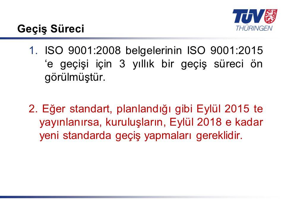 Geçiş Süreci ISO 9001:2008 belgelerinin ISO 9001:2015 'e geçişi için 3 yıllık bir geçiş süreci ön görülmüştür.