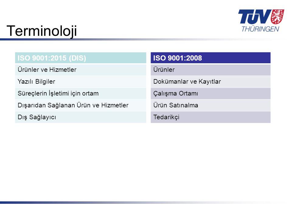 Terminoloji ISO 9001:2015 (DIS) ISO 9001:2008 Ürünler ve Hizmetler
