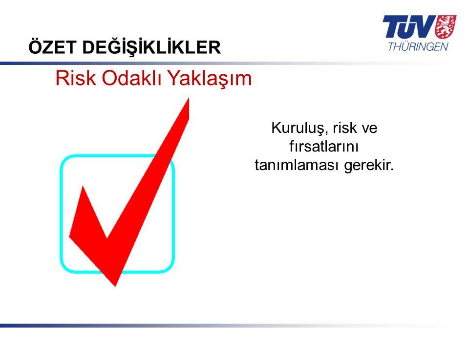 Kuruluş, risk ve fırsatlarını tanımlaması gerekir.