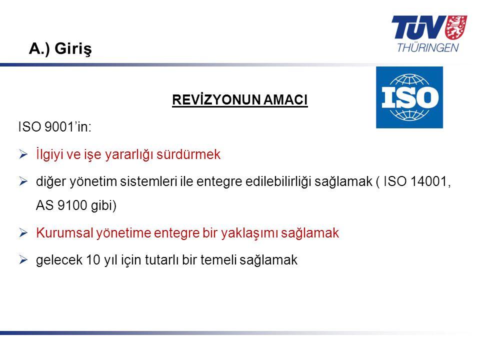 A.) Giriş REVİZYONUN AMACI ISO 9001'in: