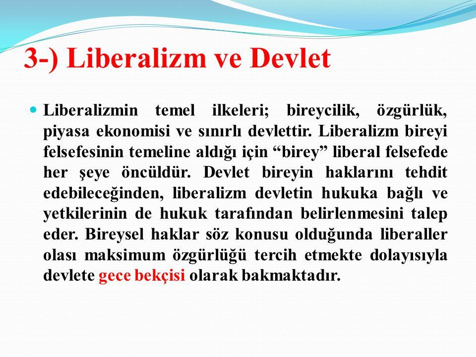3-) Liberalizm ve Devlet