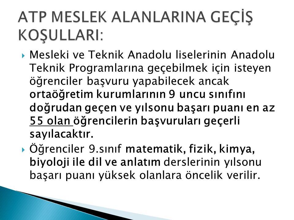 ATP MESLEK ALANLARINA GEÇİŞ KOŞULLARI: