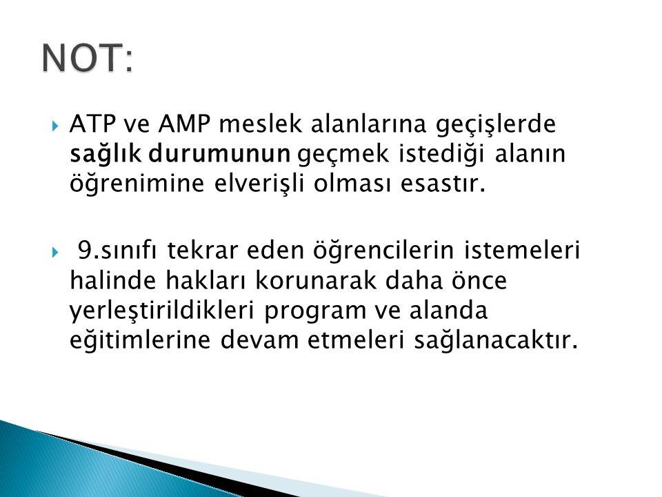 NOT: ATP ve AMP meslek alanlarına geçişlerde sağlık durumunun geçmek istediği alanın öğrenimine elverişli olması esastır.