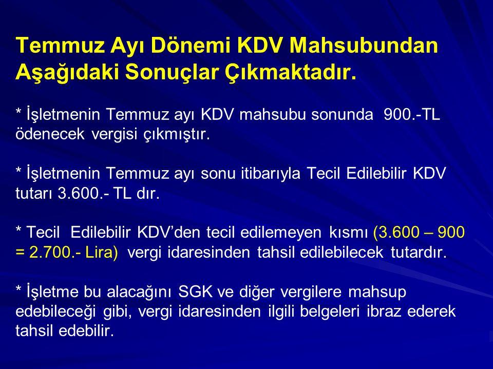 Temmuz Ayı Dönemi KDV Mahsubundan Aşağıdaki Sonuçlar Çıkmaktadır