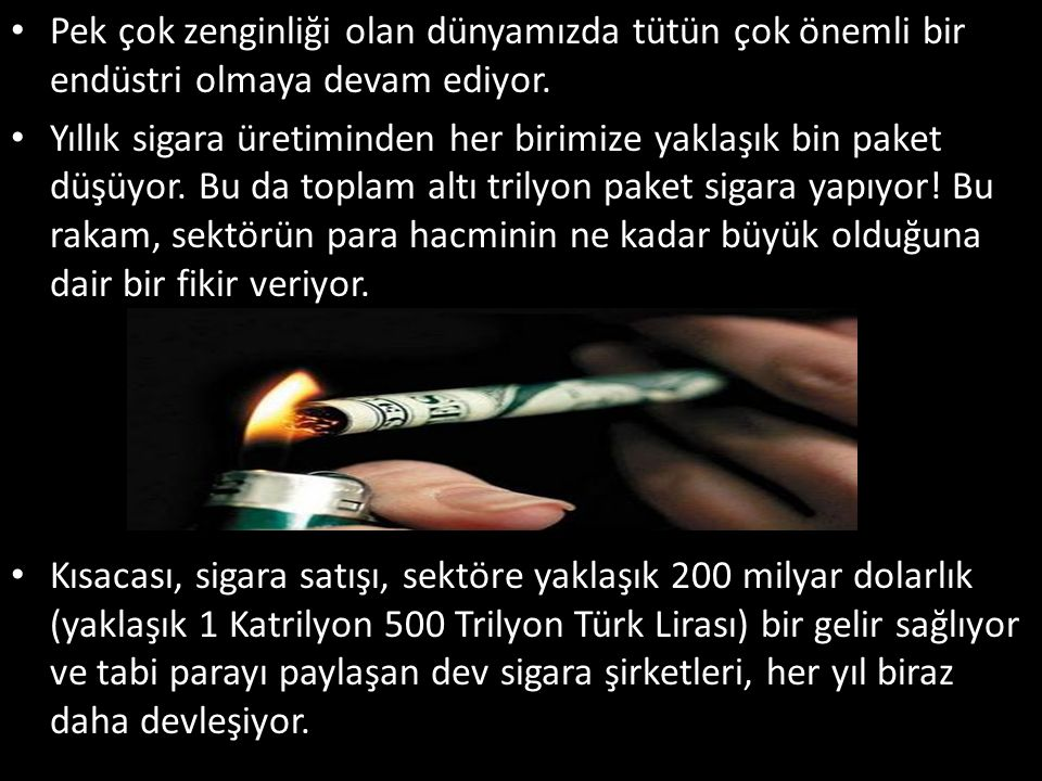 Pek çok zenginliği olan dünyamızda tütün çok önemli bir endüstri olmaya devam ediyor.