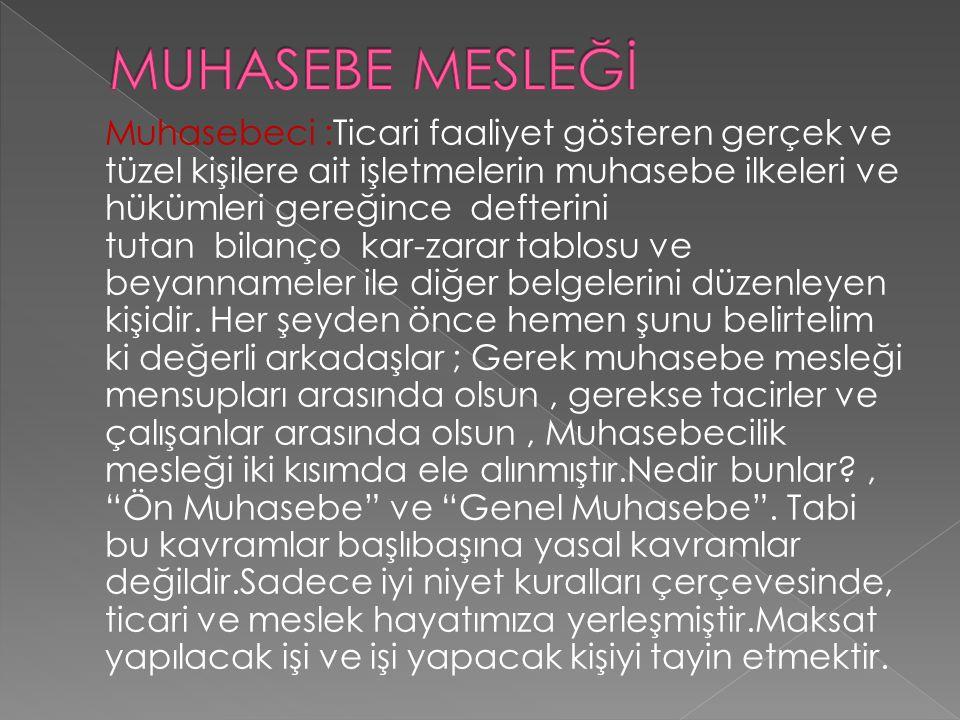MUHASEBE MESLEĞİ