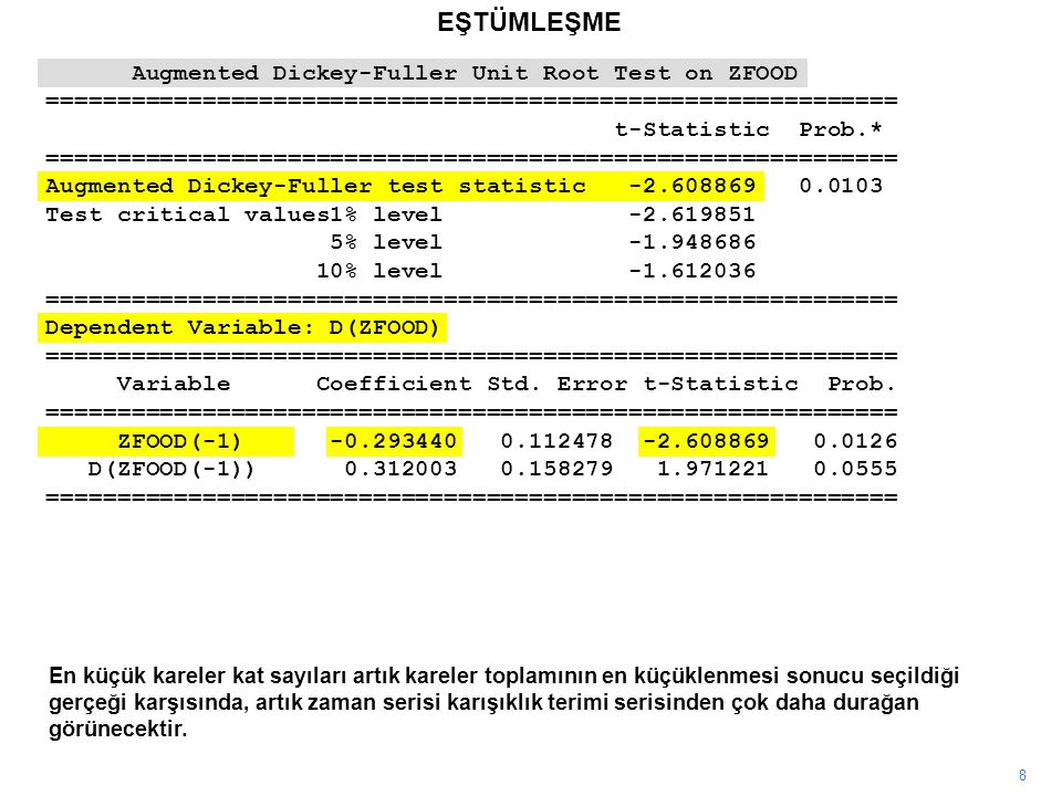EŞTÜMLEŞME Augmented Dickey-Fuller Unit Root Test on ZFOOD