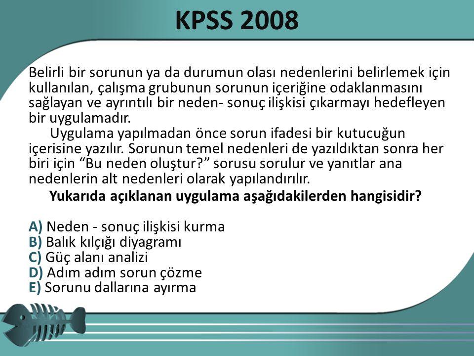 KPSS 2008 Yukarıda açıklanan uygulama aşağıdakilerden hangisidir