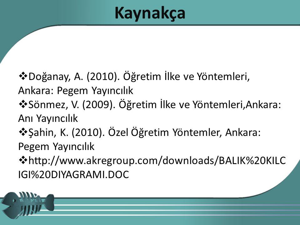 Kaynakça Doğanay, A. (2010). Öğretim İlke ve Yöntemleri, Ankara: Pegem Yayıncılık.