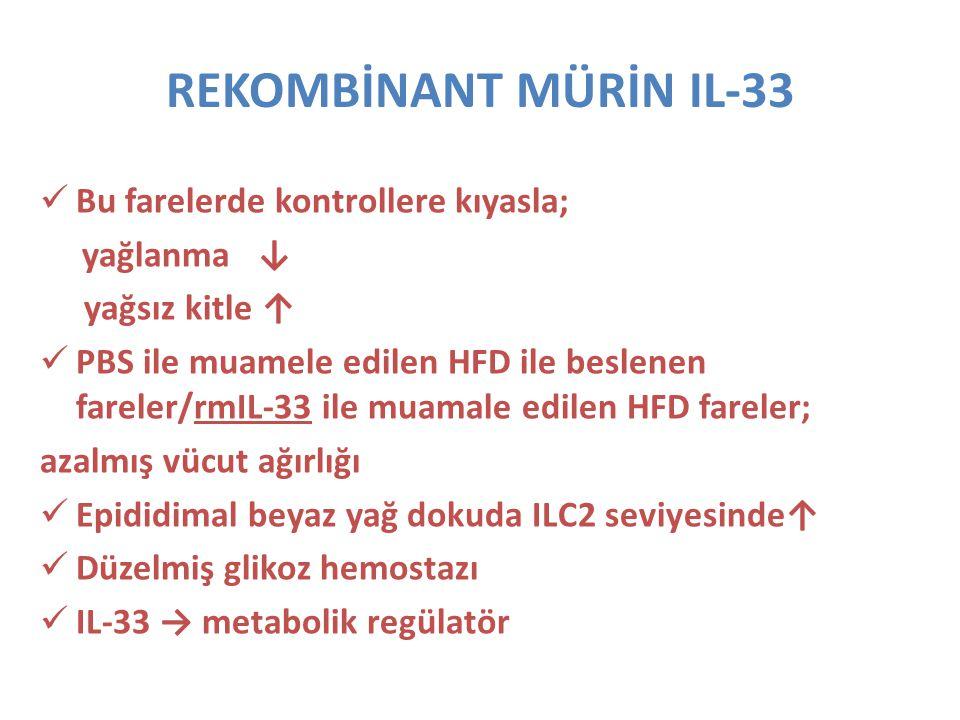REKOMBİNANT MÜRİN IL-33 Bu farelerde kontrollere kıyasla; yağlanma ↓