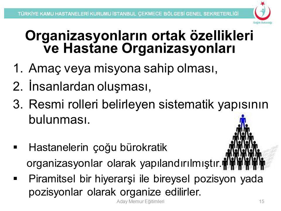 Organizasyonların ortak özellikleri ve Hastane Organizasyonları