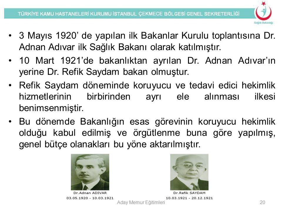 3 Mayıs 1920' de yapılan ilk Bakanlar Kurulu toplantısına Dr
