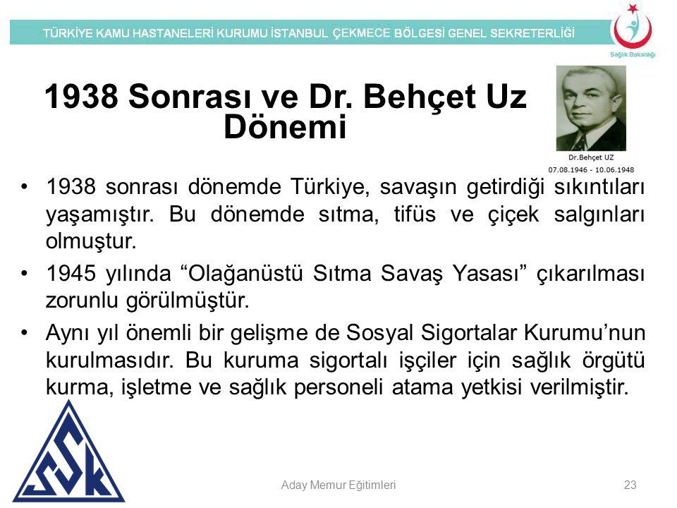 1938 Sonrası ve Dr. Behçet Uz Dönemi