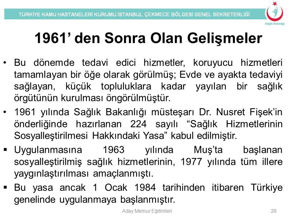 1961' den Sonra Olan Gelişmeler