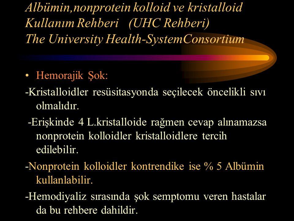 Albümin,nonprotein kolloid ve kristalloid Kullanım Rehberi (UHC Rehberi) The University Health-SystemConsortium