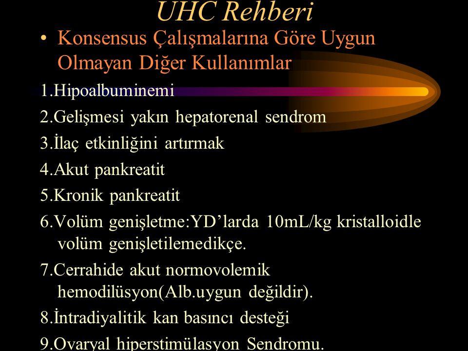 UHC Rehberi Konsensus Çalışmalarına Göre Uygun Olmayan Diğer Kullanımlar. 1.Hipoalbuminemi. 2.Gelişmesi yakın hepatorenal sendrom.
