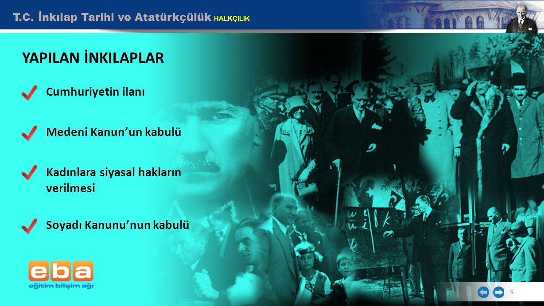 YAPILAN İNKILAPLAR Cumhuriyetin ilanı Medeni Kanun'un kabulü