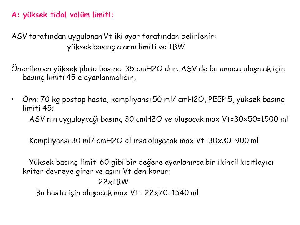 A: yüksek tidal volüm limiti: