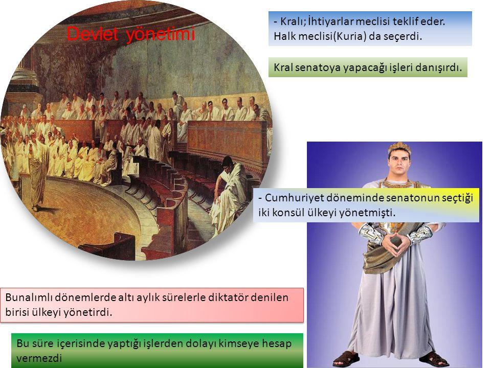 - Kralı; İhtiyarlar meclisi teklif eder. Halk meclisi(Kuria) da seçerdi.