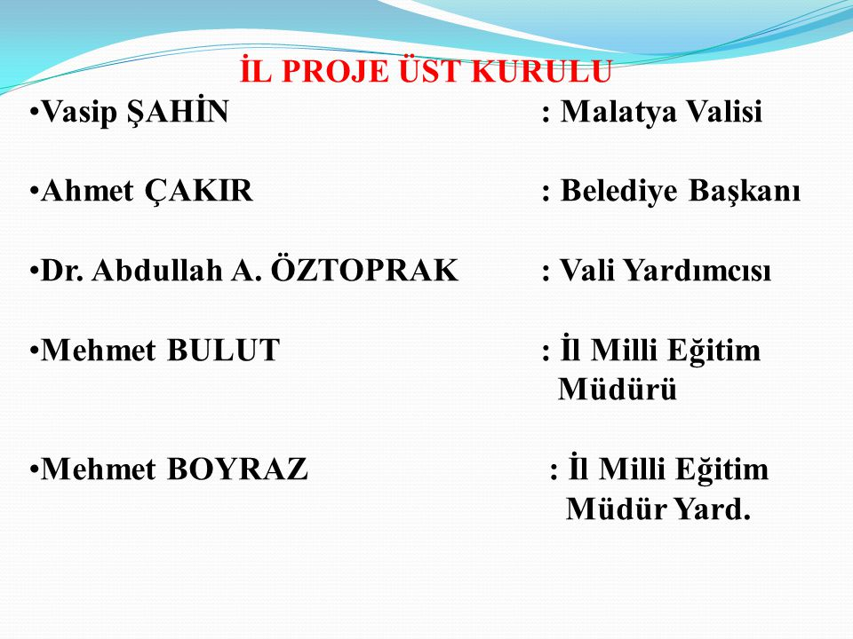 İL PROJE ÜST KURULU Vasip ŞAHİN : Malatya Valisi. Ahmet ÇAKIR : Belediye Başkanı. Dr. Abdullah A. ÖZTOPRAK : Vali Yardımcısı.