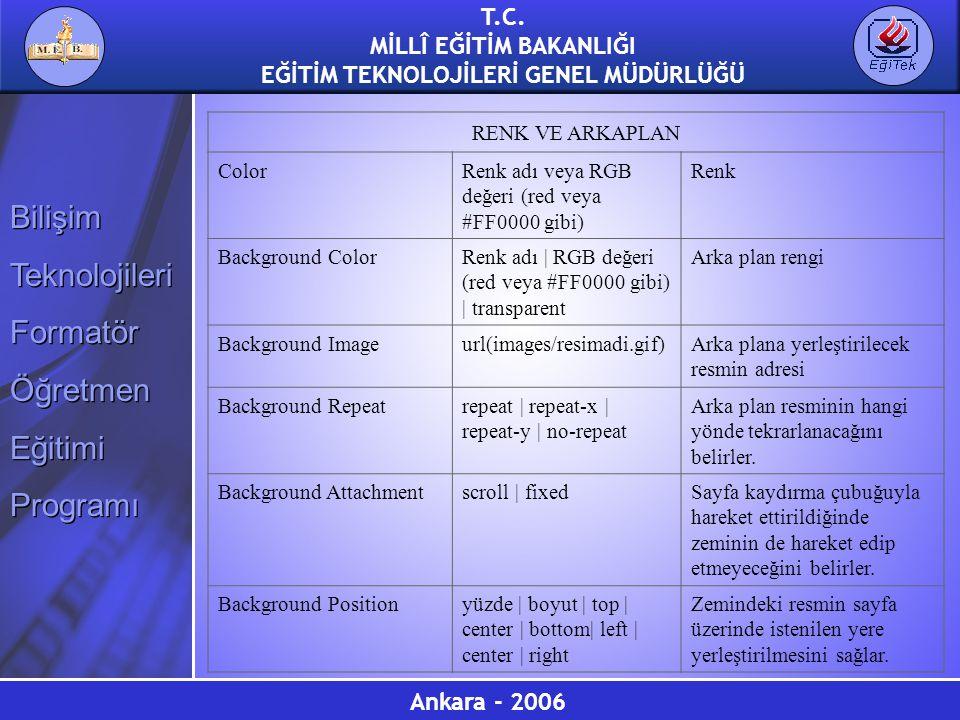 RENK VE ARKAPLAN Color. Renk adı veya RGB değeri (red veya #FF0000 gibi) Renk. Background Color.