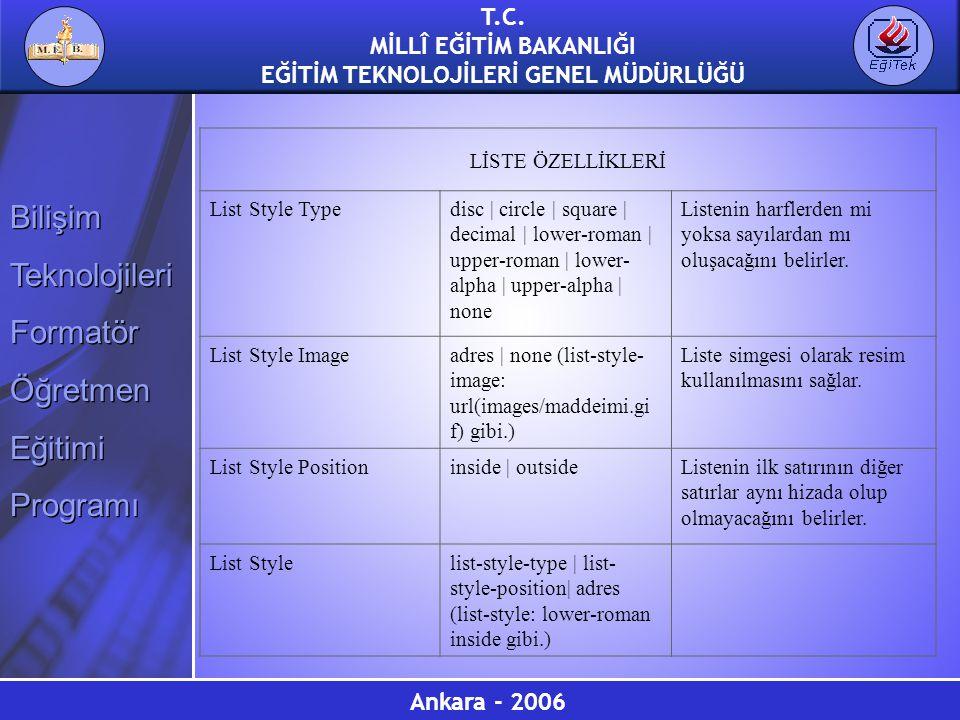 LİSTE ÖZELLİKLERİ List Style Type. disc | circle | square | decimal | lower-roman | upper-roman | lower-alpha | upper-alpha | none.