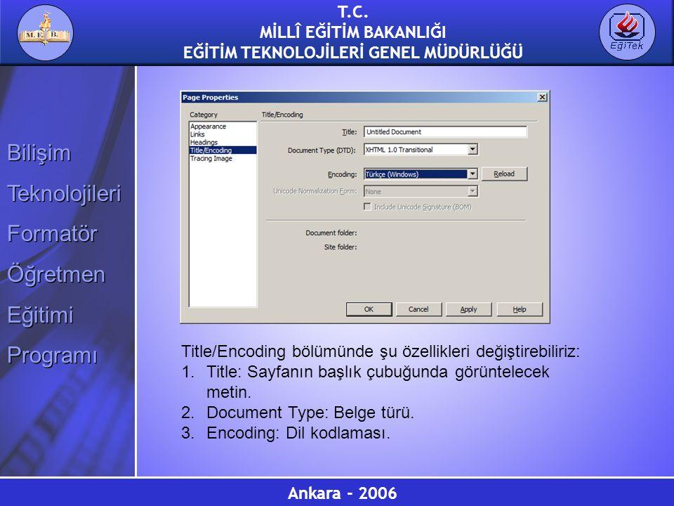 Title/Encoding bölümünde şu özellikleri değiştirebiliriz:
