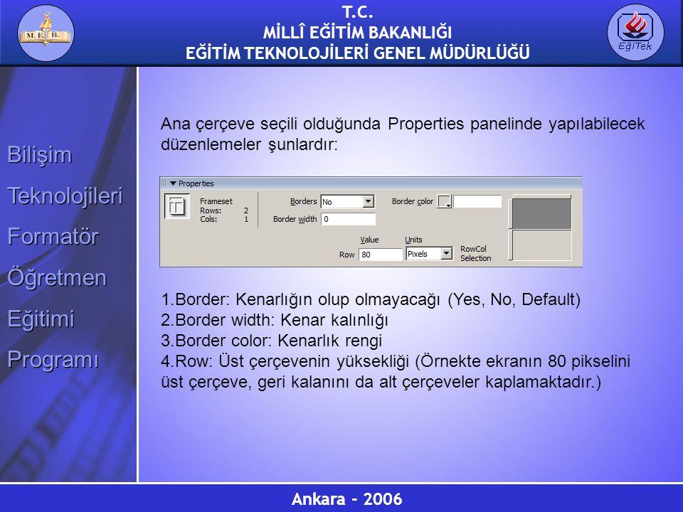 Ana çerçeve seçili olduğunda Properties panelinde yapılabilecek düzenlemeler şunlardır: