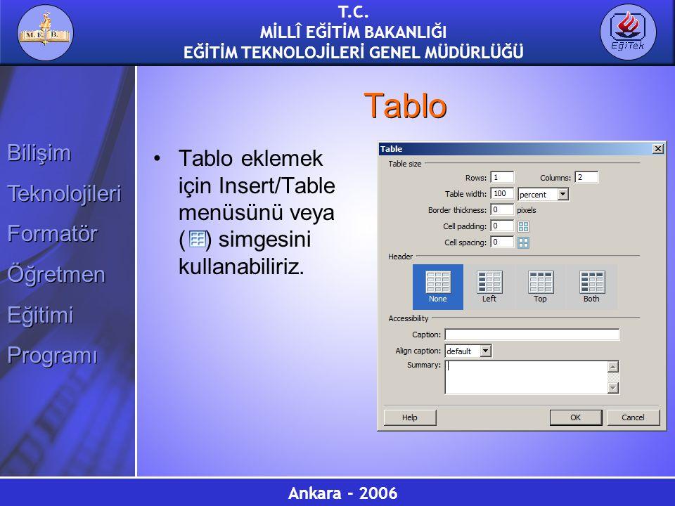 Tablo Tablo eklemek için Insert/Table menüsünü veya ( ) simgesini kullanabiliriz.