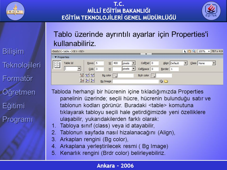 Tablo üzerinde ayrıntılı ayarlar için Properties i kullanabiliriz.