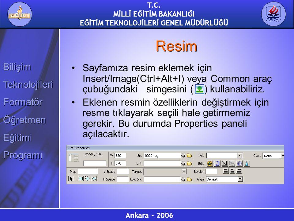 Resim Sayfamıza resim eklemek için Insert/Image(Ctrl+Alt+I) veya Common araç çubuğundaki simgesini ( ) kullanabiliriz.