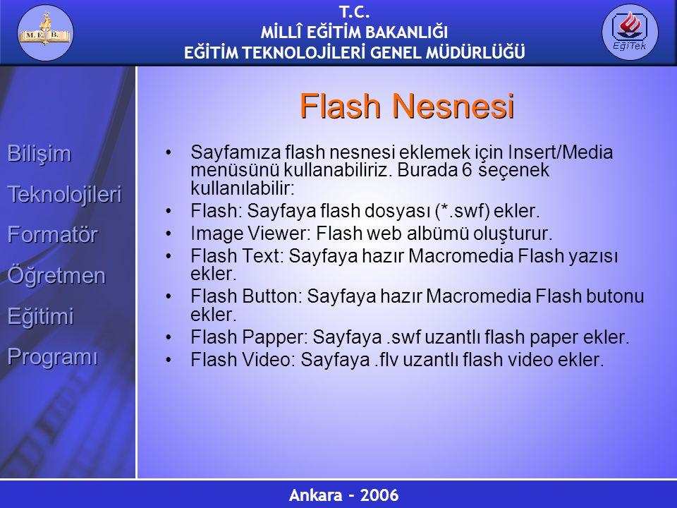 Flash Nesnesi Sayfamıza flash nesnesi eklemek için Insert/Media menüsünü kullanabiliriz. Burada 6 seçenek kullanılabilir: