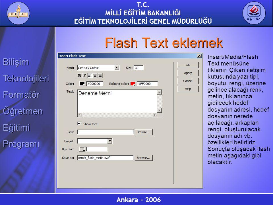 Flash Text eklemek