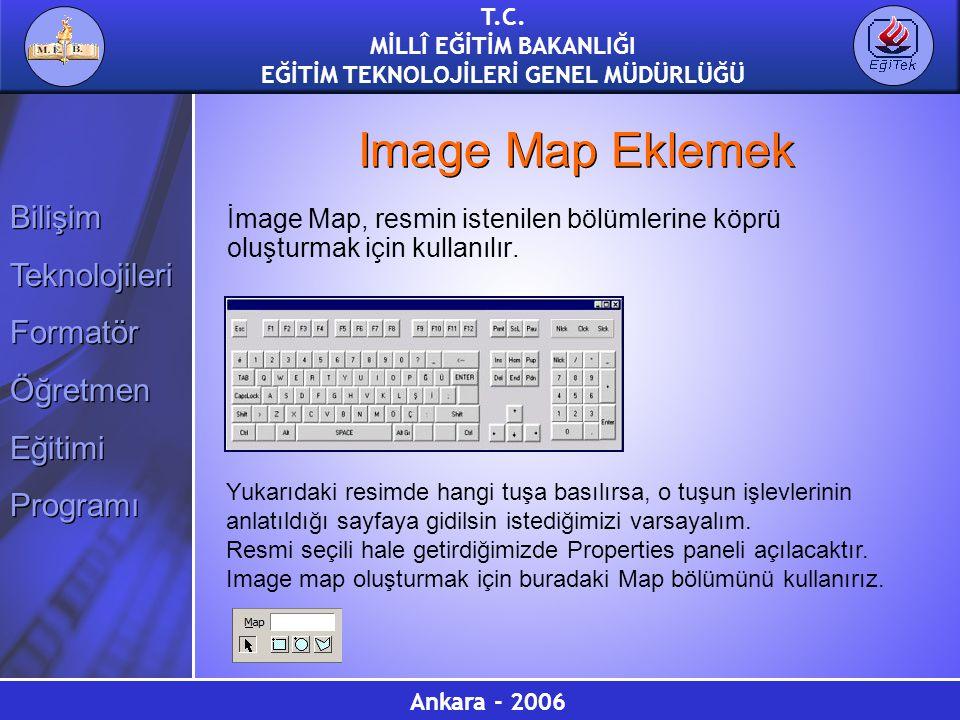 Image Map Eklemek İmage Map, resmin istenilen bölümlerine köprü oluşturmak için kullanılır.