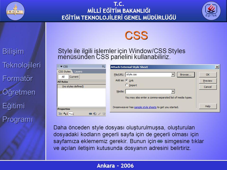 CSS Style ile ilgili işlemler için Window/CSS Styles menüsünden CSS panelini kullanabiliriz.