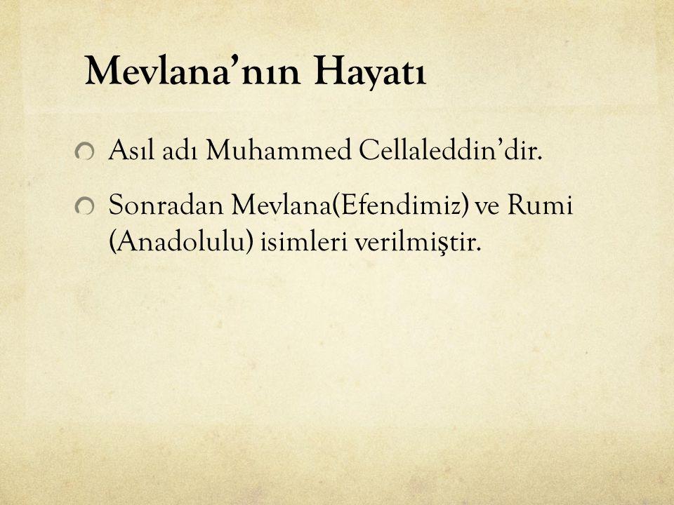 Mevlana'nın Hayatı Asıl adı Muhammed Cellaleddin'dir.