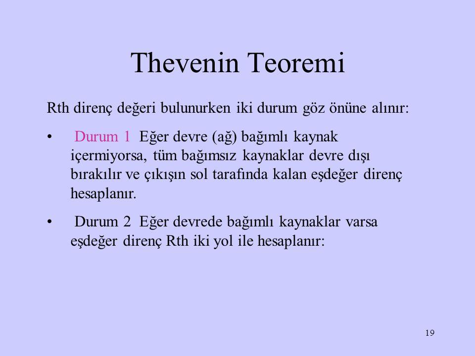 Thevenin Teoremi Rth direnç değeri bulunurken iki durum göz önüne alınır:
