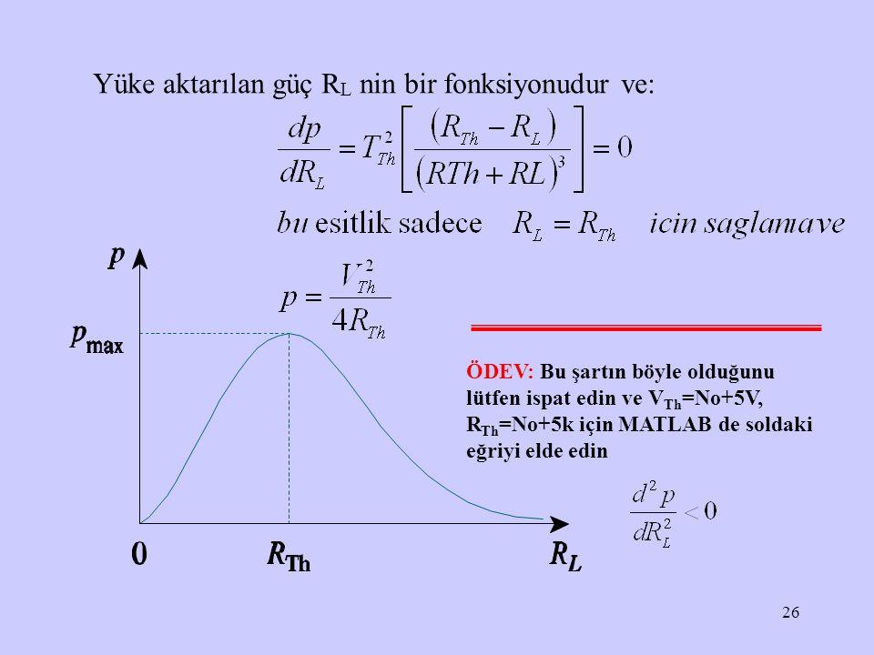 Yüke aktarılan güç RL nin bir fonksiyonudur ve: