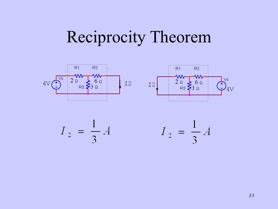 Reciprocity Theorem 2  3  6  3  6  2 