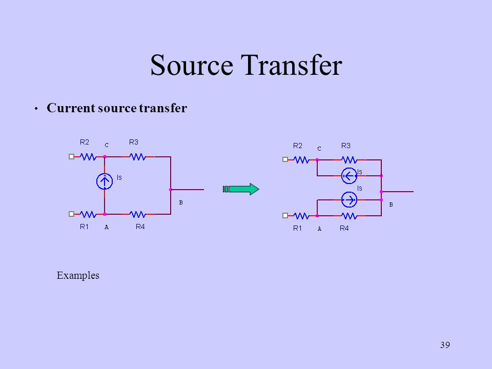 Source Transfer Current source transfer Examples