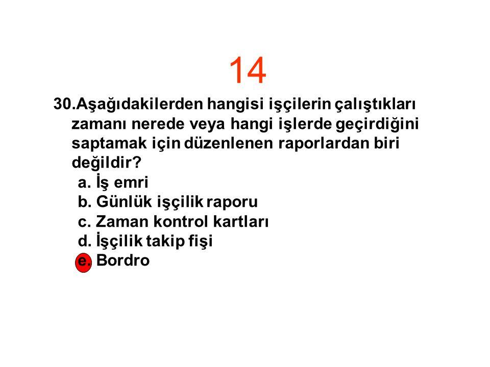14 Aşağıdakilerden hangisi işçilerin çalıştıkları zamanı nerede veya hangi işlerde geçirdiğini saptamak için düzenlenen raporlardan biri değildir