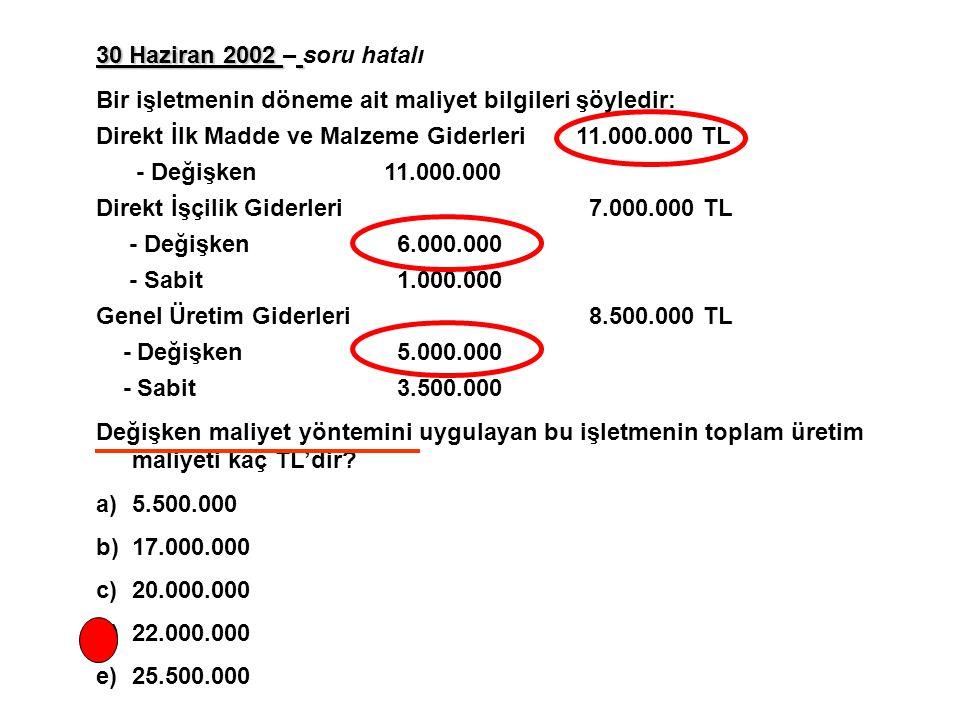 30 Haziran 2002 – soru hatalı Bir işletmenin döneme ait maliyet bilgileri şöyledir: Direkt İlk Madde ve Malzeme Giderleri 11.000.000 TL.