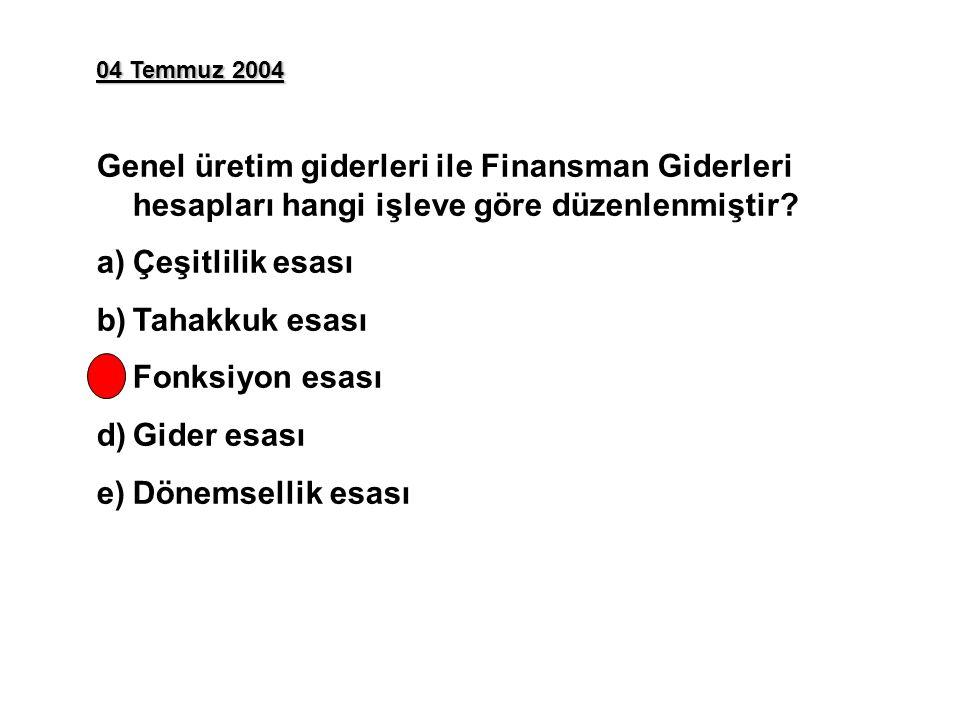 04 Temmuz 2004 Genel üretim giderleri ile Finansman Giderleri hesapları hangi işleve göre düzenlenmiştir