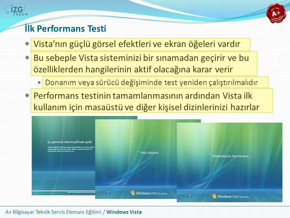 İlk Performans Testi Vista'nın güçlü görsel efektleri ve ekran öğeleri vardır.