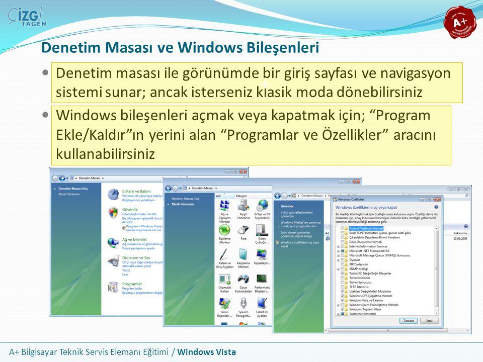 Denetim Masası ve Windows Bileşenleri